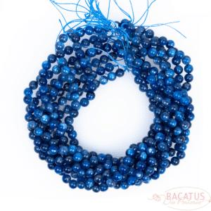 Kyanite quartz plain round glossy blue transparent approx. 8mm, 1 strand