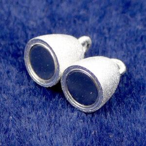 Chiusura magnetica argento 925 oliva opaco Ø 17×8 mm