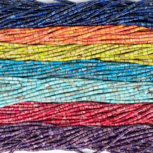 Impression Jaspis Röhrchen glanz Farbauswahl ca. 6x9mm, 1 Strang