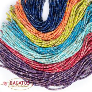Tubi di diaspro impression selezione di colori lucidi circa 6x9mm, 1 filo