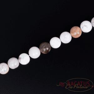 Ocean jasper plain round glossy white approx. 6-8mm, 1 strand