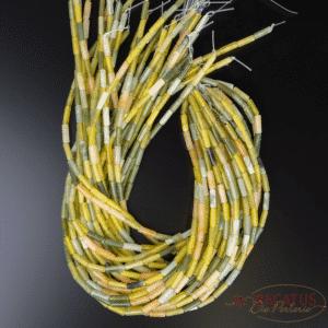 Neue Jade Röhrchen glanz gelb grün ca. 4x13mm, 1 Strang