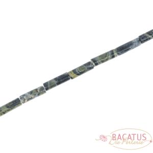 Tubi di diaspro Kambaba nero verde lucido circa 4x13mm, 1 capo