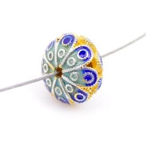 Perle métal fleur émail cloisonné 10×6 mm or bleu