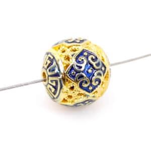 Perle en métal émail cloisonné 10 mm or bleu