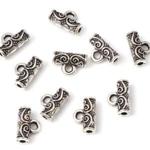 Metallperle/ Konnektor mit Öse – orientalisches Muster – 10×7 mm 5 Stück
