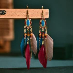 Ohrhänger BoHo Style Federn bunt 12 x 1,5 cm 1 Paar