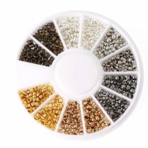 Set di perle a crimpare 2 misure, 6 colori + pratica scatola di smistamento