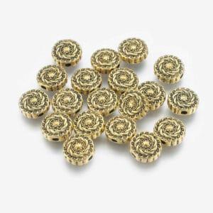 Metallperle Linse Metall, gold 10 x 4 mm 5 Stück