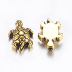 Metallperle Schildkröte Metall, gold 13 x 9 x 4 mm 5 Stück