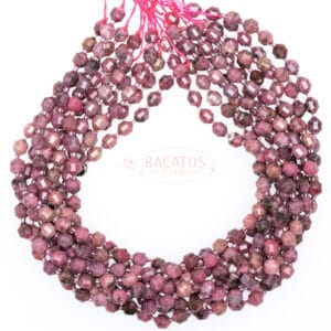 China Rhodonite Fancy faceted 7x8mm, 1 strand